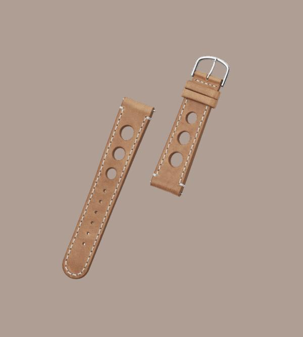ORLO Hitch Silver Brown læder urrem brun / camel 20 mm