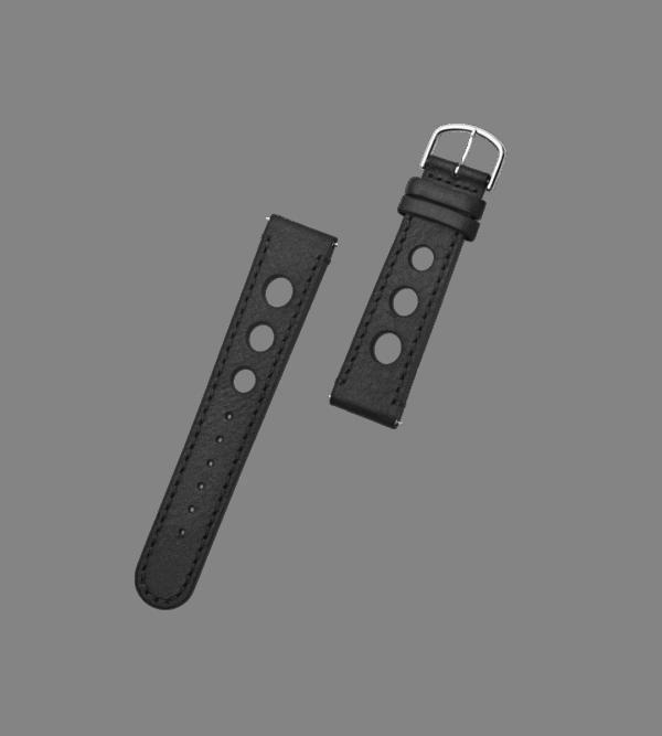 ORLO Hitch Silver Black læder urrem sort 20 mm