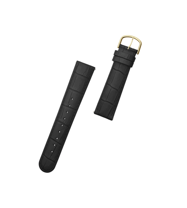 ORLO Ossel Gold Black læder urrem sort guld 20 mm