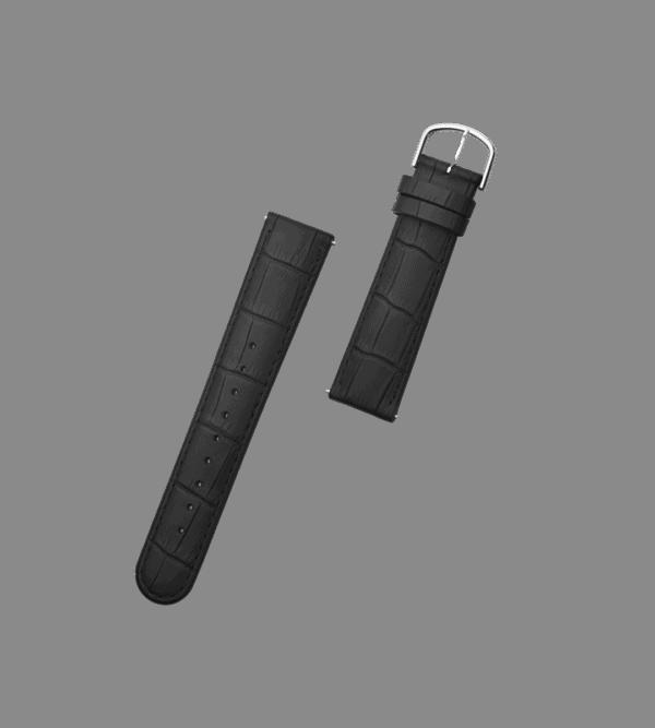 ORLO Ossel Silver Black læder urrem sort sølv 20 mm